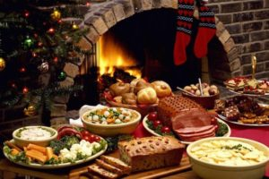 picture of table full of holiday food