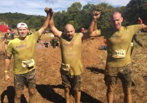 John Lavey (left), Joe Shaw (center), & Brandon Bradford (right) after the Warrior Dash